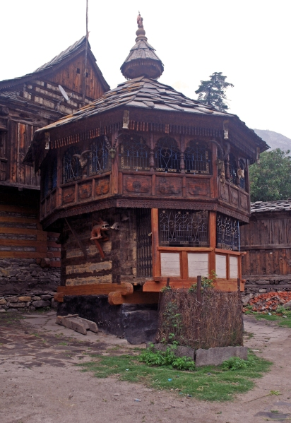 A carved wooden house in Sangla, Kinnaur