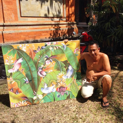 Artist Budi with one of his creations at Jati Home Stay