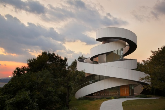 The Ribbon Chapel's seemingly intertwined spiral staircases