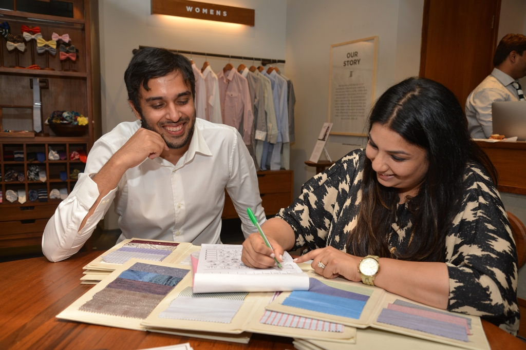 Bombay Shirt Company founder Akshay Narvekar and fashion designer Payal Singhal