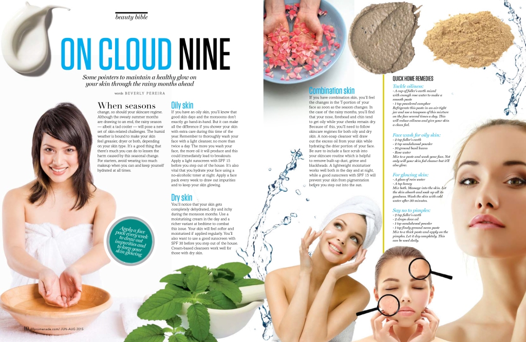 A feature on makeup trends for the monsoons, published in Promenade (for DLF Promenade, New Delhi)