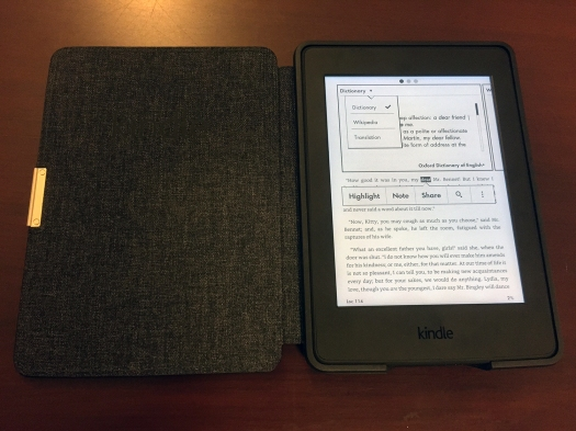 A sub-menu that lets you look up words on the Kindle Paperwhite